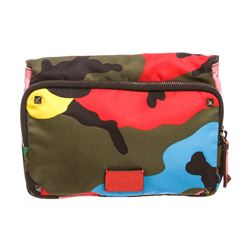 Valentino Psychedelic Camo Rockstud Nylon Leather Clutch Bag