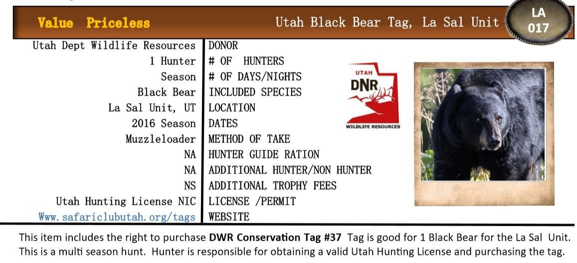 2019 Utah La Sal Mountains Black Bear Tag