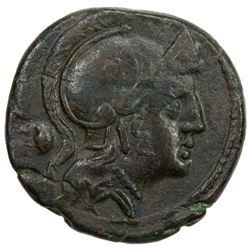 ROMAN REPUBLIC: Anonymous, ca. 211-206 BC, AE triens (7.20g), Rome. VF