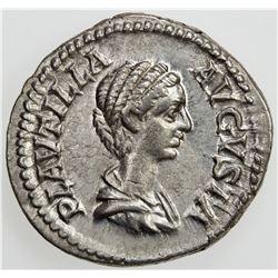 ROMAN EMPIRE: Plautilla, wife of Caracalla, AR denarius (3.21g), Rome, [202]. VF-EF