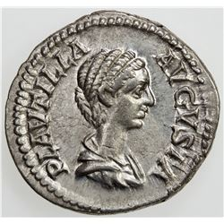 ROMAN EMPIRE: Plautilla, wife of Caracalla, AR denarius (3.21g), Rome, [202]. VF-EF