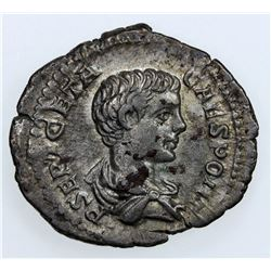 ROMAN EMPIRE: Geta, 209-212 AD, AR denarius (3.26g), Rome, as Caesar, 200-202. VF-EF