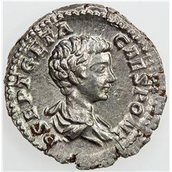 ROMAN EMPIRE: Geta, 209-212 AD, AR denarius (3.29g), Rome, [200]. EF-AU