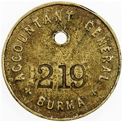BURMA: paycheck token (18.25g), ND (ca. 1930?)