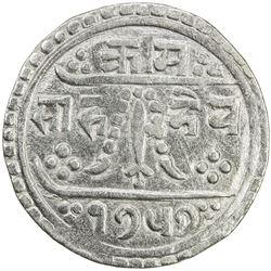 NEPAL: Rajendra Vikrama, 1816-1847, AR 1/2 mohar, SE1757 (1835). VF-EF