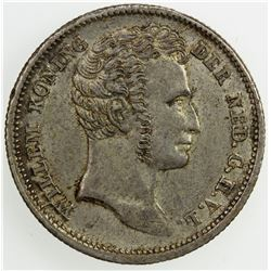 NETHERLANDS EAST INDIES: Willem I, 1815-1840, AR 1/4 gulden, 1834. AU