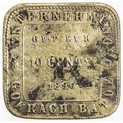 NETHERLANDS EAST INDIES: Plantation Token, brass 10 cents, 1890. VF