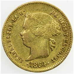 PHILIPPINES: Isabel II, 1833-1868, AV 2 pesos, 1864/0. VF