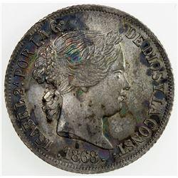 PHILIPPINES: Isabel II, 1833-1868, AR 10 centimos, 1868. AU