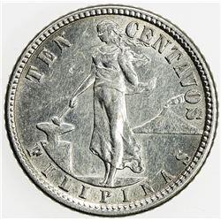 PHILIPPINES: AR 10 centavos, 1918-S, KM-169, Allen-8.13, AU