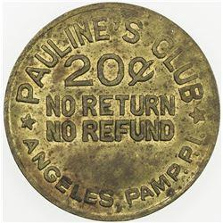 PHILIPPINES: 20 centavos token (5.07g), ND [ca.1940?]. EF