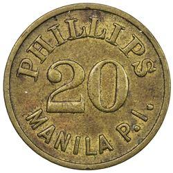 PHILIPPINES: 20 (centavos) token (4.13g), ND [ca. 1940?]. EF