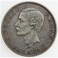 SARAWAK: Charles J. Brooke, 1868-1917, AR 50 cents, 1900-H. VF-EF