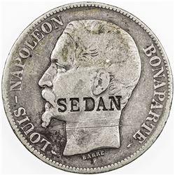 FRANCE: AR 5 francs, 1852-A. VF