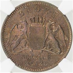BADEN: Friedrich I, 1856-1907, AE kreuzer, 1860