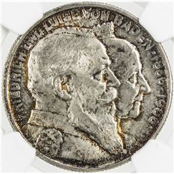 BADEN: Friedrich I, 1858-1907, AR 2 mark, 1906