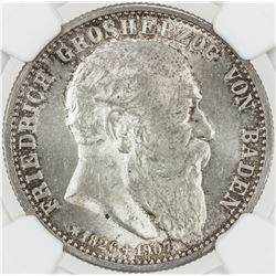 BADEN: Friedrich II, 1907-1018, AR 2 mark, 1907