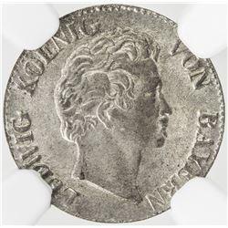 BAVARIA: Ludwig I, 1825-1848, AR kruezer, 1829