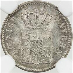 BAVARIA: Maximilian II, 1848-1864, AR kruezer, 1854