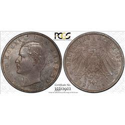BAVARIA: Otto I, 1886-1912, AR 3 mark, 1912-D. PCGS MS63