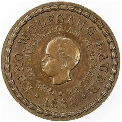 NUREMBERG: AE token (3.99g), 1888. AU