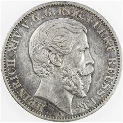 REUSS-SCHLEIZ: Heinrich XIV, 1867-1913, AR thaler, 1868-A. VF-EF