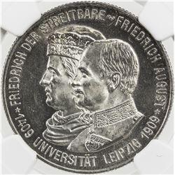 SAXONY: Friedrich August III, 1904-1918, AR 2 mark, 1909