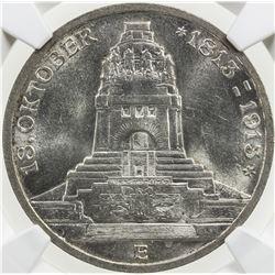 SAXONY: Frederick Augustus III, 1904-1918, AR 3 mark, 1913-E