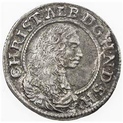 SCHLESWIG-HOLSTEIN-GOTTORP: Christian Albrecht, 1659-1694, AR 1/16 thaler, 1669. EF-AU