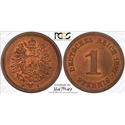 GERMANY: Wilhelm I, 1871-1888, AE pfennig, 1887-F