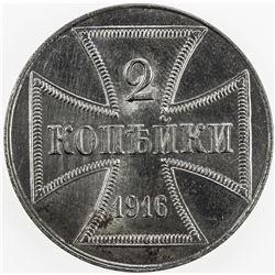 GERMANY: Iron 2 kopeks, 1916-J. UNC
