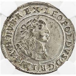HUNGARY: Leopold I, 1657-1705, AR 6 krajczar, Kormoczbanya (Kremnica) mint,