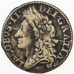 IRELAND: James II, 1689-1690, Brass shilling, 1689 (1690). F-VF