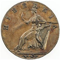 IRELAND: AE halfpenny token (10.03g), 1789. AU