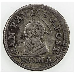 PAPAL STATES: Innocent XI, 1676-1689, AR 1/2 grosso, Rome, ND. VF
