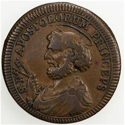 PAPAL STATES: Pius VI, 1775-1799, AE 2 1/2 baiocchi, 1796. F-VF