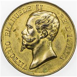 ITALY: Vittorio Emanuele II, 1861-1878, gilt AE medal (40.24g), ND (ca. 1870). AU