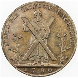 SCOTLAND: AE halfpenny token (12.65g), 1790. UNC