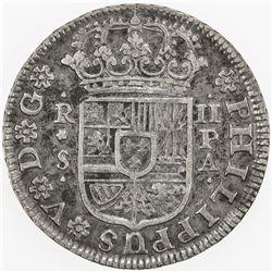 SPAIN: Philip V, 1700-1746, AR 2 reales, Seville, 1734 PA