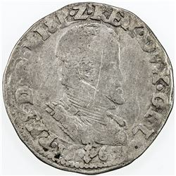 SPANISH NETHERLANDS: Philip II, 1556-1598, AR 1/5 ecu, 1567. VG-F