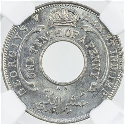 BRITISH WEST AFRICA: George V, 1910-1936, 1/10 penny, 1928-KN