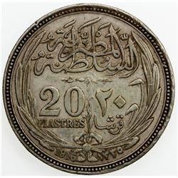EGYPT: Hussein Kamil, 1914-1922, AR 20 piastres, AH1335//1916. VF