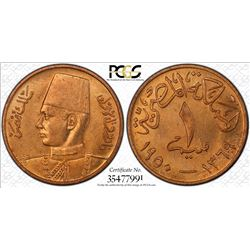 EGYPT: Farouk, 1936-1952, AE millieme, 1950/AH1369. PCGS MS64