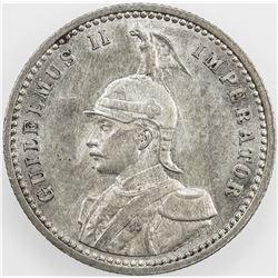 GERMAN EAST AFRICA: Wilhelm II, 1888-1918, AR 1/4 rupie, 1901. EF