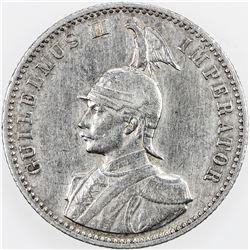 GERMAN EAST AFRICA: Wilhelm II, 1888-1918, AR 1/2 rupie, 1909-A. EF