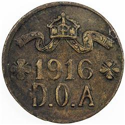 GERMAN EAST AFRICA: Wilhelm II, 1888-1918, AE 5 heller, 1916-T. VF