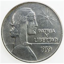 CUBA: AR peso, 1939. EF-AU