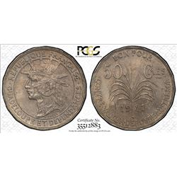 GUADELOUPE: French Colony, 50 centimes, 1921. PCGS MS63