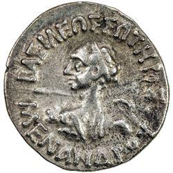 ANCIENT INDIA: INDO-GREEK: Menander I, ca. 165-130 BC, AR drachm. F-VF