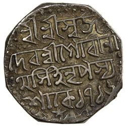 ASSAM: Gaurinatha Simha, 1780-1796, AR rupee, SE1716 (1794). VF-EF